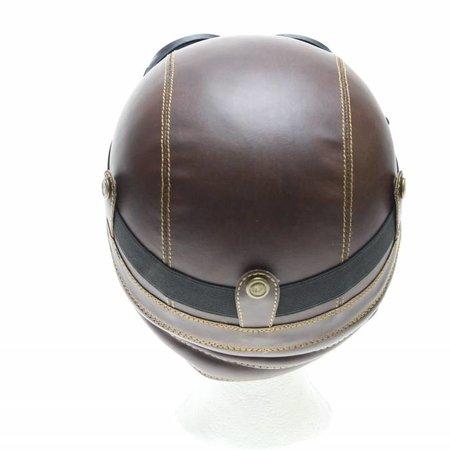 Retro brown leather half helmet