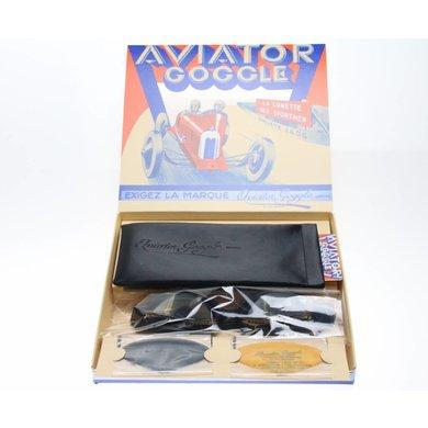 Aviator Goggle retro cuir mask gunmetal, zwart leren vliegeniersbril