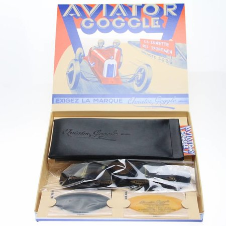 Aviator Goggle retro cuir mask gunmetal, black leather leather motor goggles