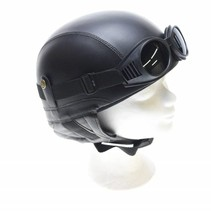 Retro black leather half helmet
