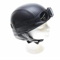 Retro black leather half helmet
