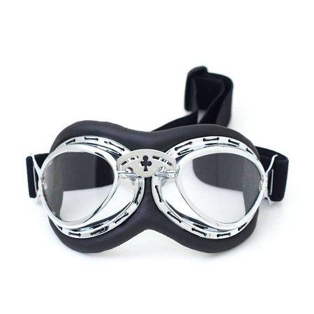 Chrome steampunk rider motor goggles