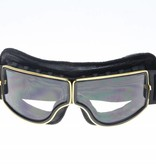 CRG gold, black leather cruiser motor goggles