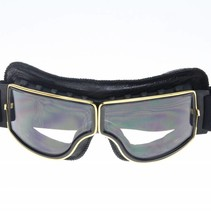 goud, zwart leren cruiser motorbril