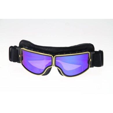 CRG goud, zwart leren cruiser motorbril