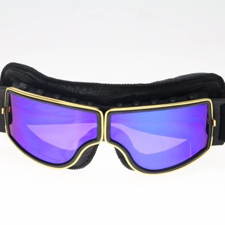 CRG gold, black leather cruiser motor goggles