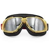 Ediors retro gold, black leather motor goggles