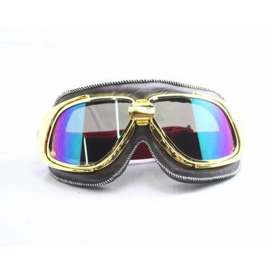 Ediors retro gold, brown leather motor goggles