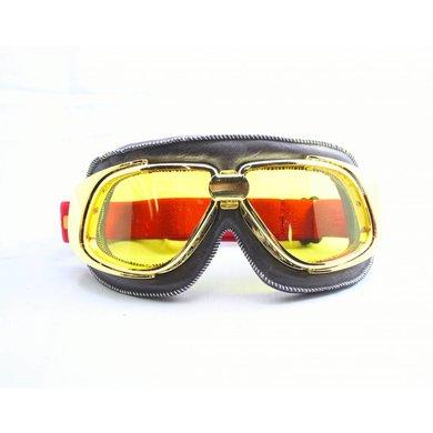 Ediors retro goud, bruin leren motorbril