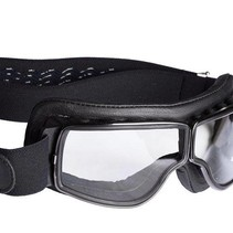 retro pilot T2 optical gunmetal black leather motor goggles