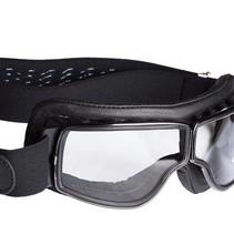 retro pilot T2 optical gunmetal zwart leren motorbril