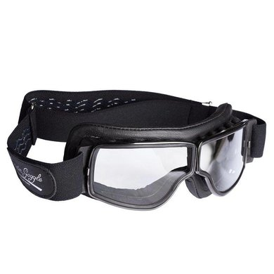 Aviator Goggle retro pilot T2 optical gunmetal zwart leren motorbril