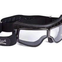 retro pilot T3 gunmetal zwart leren motorbril