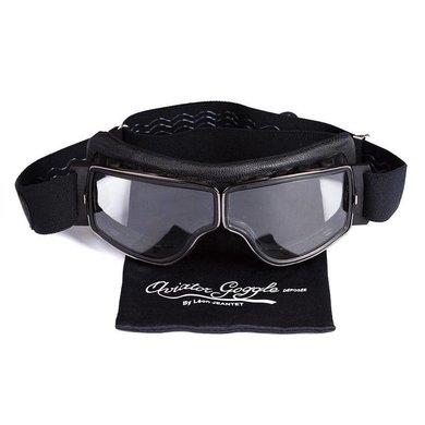 Aviator Goggle retro pilot T3 gunmetal zwart leren motorbril