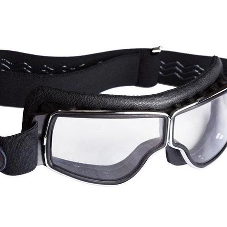 Aviator Goggle retro pilot T3 chrome zwart leren motorbril