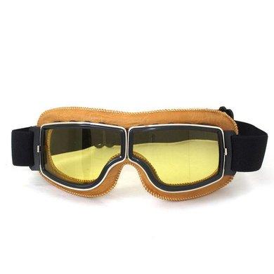CRG creme leather cruiser motor goggles