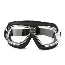 retro, chrome zwart leren motorbril
