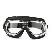 retro, chrome black leather motor goggles
