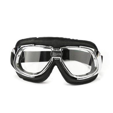 CRG retro, chrome black leather motor goggles