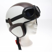Retro leather jet helmet white - brown | outlet