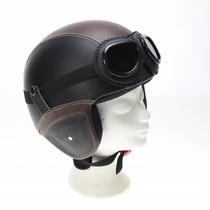 Retro leather jet helmet black-brown | outlet