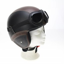Retro leather jet helmet black-brown | outlet
