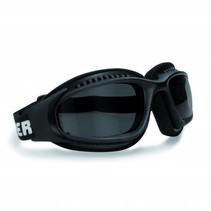 AF113A zwarte motorbril antifog smoke glas