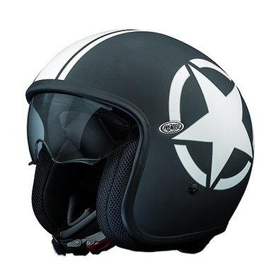 Premier vintage star 9BM matt black open face helmet