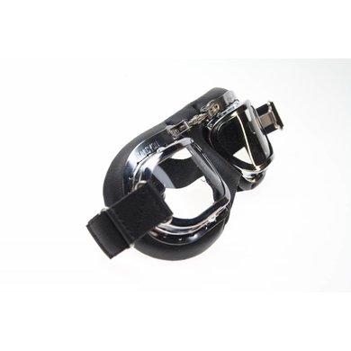 Halcyon mark 10 deluxe, zwarte motorbril helder glas