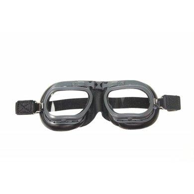 Halcyon mark 7 retro motorbril zwart leer