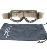 Aviator Goggle retro pilot T2 optical chrome brown leather motor goggles