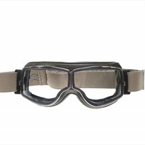 retro pilot T2 optical chrome bruin leren motorbril