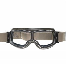 retro pilot T2 optical chrome bruin leren motorbril