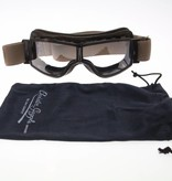 Aviator Goggle retro pilot T2 optical gunmetal brown leather motor goggles