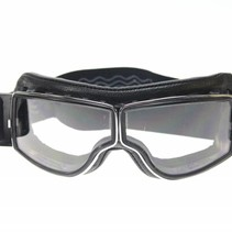retro pilot T2 optical chrome black leather motor goggles