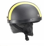 Vintage black - yellow leather half helmet