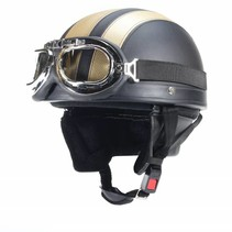 Vintage black - gold leather half helmet