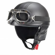 Vintage matt black leather half helmet