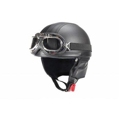 Vintage matt black leather half helmet