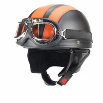 Vintage black - orange leather half helmet