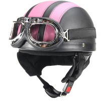 Vintage black - pink leather half helmet