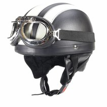 Vintage black - white leather half helmet