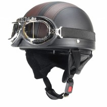 Vintage black - brown leather half helmet