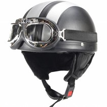 Vintage black - silver leather half helmet
