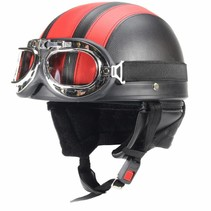 Vintage black - red leather half helmet
