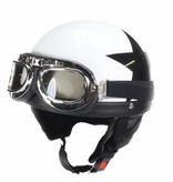 Retro, white half helmet black star