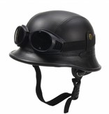 Black, leather German helmet