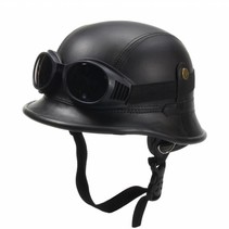 Black, leather German helmet