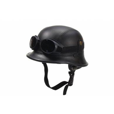 Zwart, leren Duitse helm