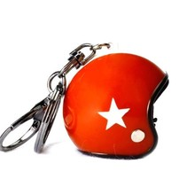Keychain red jet helmet with white star